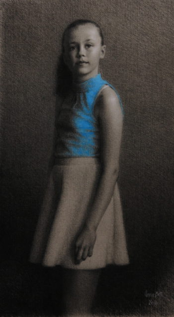 Portrait in charcoal, white chalk and pastel. Commissioned work. 36-60cm