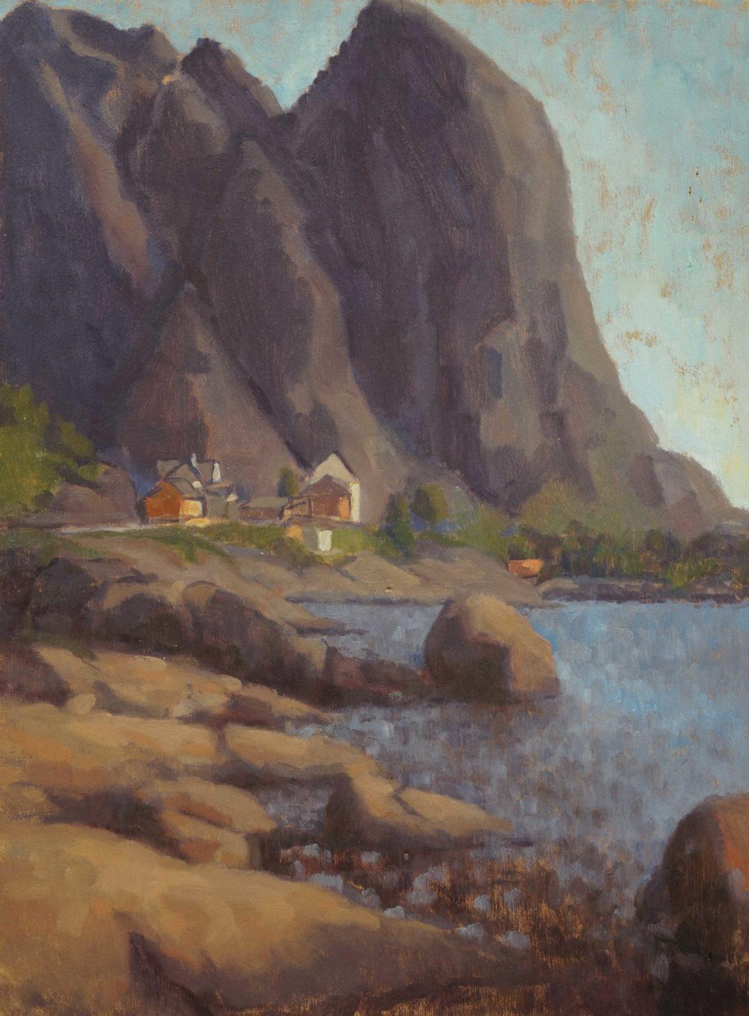 Reine from a rock, morning light